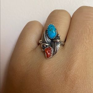Vintage turquoise coral ring sterling silver